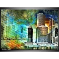 Glas schilderij Modern | Blauw, Grijs, Geel