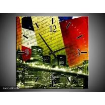 Wandklok op Canvas Modern | Kleur: Rood, Groen, Wit | F004262C