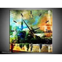 Wandklok op Canvas Parijs | Kleur: Blauw, Oranje, Grijs | F004263C