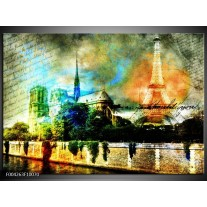 Glas schilderij Parijs | Blauw, Oranje, Grijs