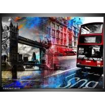 Glas schilderij Modern | Rood, Grijs, Blauw