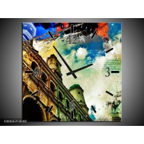Wandklok op Canvas Modern | Kleur: Blauw, Geel, Wit | F004267C