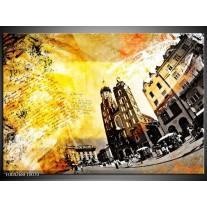 Glas schilderij Modern | Geel, Bruin, Wit