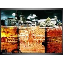 Foto canvas schilderij Modern | Rood, Geel, Grijs