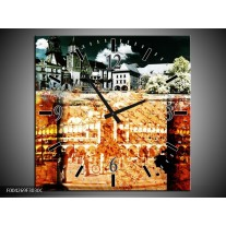 Wandklok op Canvas Modern | Kleur: Rood, Geel, Grijs | F004269C