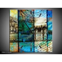 Wandklok op Canvas Modern | Kleur: Blauw, Grijs, Geel | F004272C