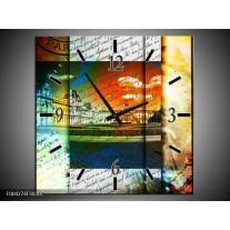 Wandklok op Canvas Modern | Kleur: Geel, Blauw, Wit | F004274C