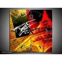 Wandklok op Canvas Modern   Kleur: Rood, Geel, Zwart   F004275C