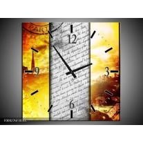Wandklok op Canvas Modern | Kleur: Geel, Grijs, Rood | F004276C
