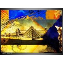 Glas schilderij Modern | Blauw, Geel, Grijs