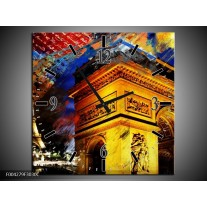 Wandklok op Canvas Modern | Kleur: Geel, Blauw, Rood | F004279C