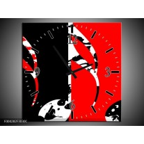 Wandklok op Canvas Muziek   Kleur: Rood, Zwart, Wit   F004282C