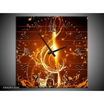 Wandklok op Canvas Muziek   Kleur: Bruin, Geel, Zwart   F004285C
