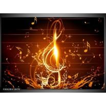 Glas schilderij Muziek | Bruin, Geel, Zwart