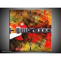 Wandklok op Canvas Gitaar | Kleur: Rood, Oranje, Geel | F004286C