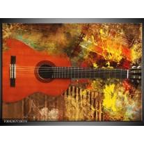 Foto canvas schilderij Gitaar | Rood, Oranje, Geel