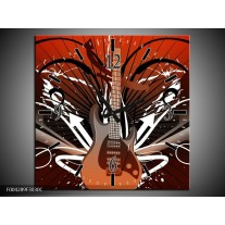 Wandklok op Canvas Gitaar | Kleur: Bruin, Wit, Zwart | F004289C