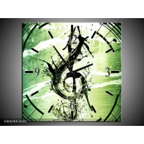 Wandklok op Canvas Gitaar | Kleur: Groen, Wit, Zwart | F004290C