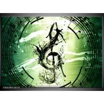 Glas schilderij Gitaar | Groen, Wit, Zwart