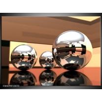 Foto canvas schilderij Modern | Bruin, Geel, Zilver