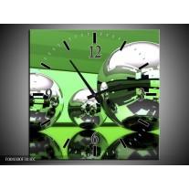 Wandklok op Canvas Modern | Kleur: Groen, Wit, Zwart | F004300C