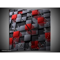 Wandklok op Canvas Modern | Kleur: Grijs, Rood, Zwart | F004305C