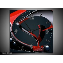 Wandklok op Canvas Modern | Kleur: Rood, Grijs, Zwart | F004309C