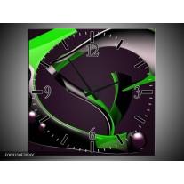 Wandklok op Canvas Modern | Kleur: Groen, Grijs, Zwart | F004310C