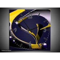 Wandklok op Canvas Modern | Kleur: Geel, Grijs, Zwart | F004312C