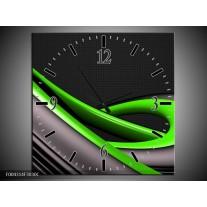 Wandklok op Canvas Modern | Kleur: Groen, Grijs, Zwart | F004314C