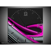 Wandklok op Canvas Modern | Kleur: Roze, Grijs, Zwart | F004316C