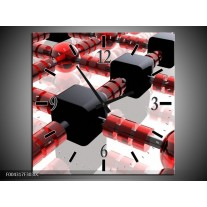 Wandklok op Canvas Modern | Kleur: Rood, Zwart, Wit | F004317C