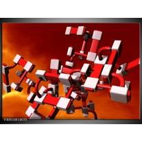 Foto canvas schilderij Modern | Rood, Zwart, Wit