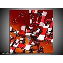 Wandklok op Canvas Modern | Kleur: Rood, Zwart, Wit | F004318C