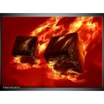Foto canvas schilderij Modern | Geel, Oranje, Rood