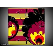 Wandklok op Canvas Modern | Kleur: Geel, Zwart, Roze | F004320C