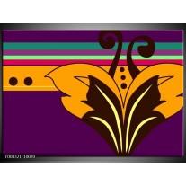 Glas schilderij Modern | Paars, Geel, Oranje