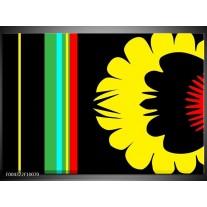 Foto canvas schilderij Modern | Zwart, Geel, Groen