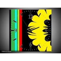 Wandklok op Canvas Modern | Kleur: Zwart, Geel, Groen | F004322C