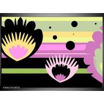 Foto canvas schilderij Modern | Zwart, Paars, Groen