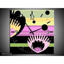 Wandklok op Canvas Modern | Kleur: Zwart, Paars, Groen | F004323C