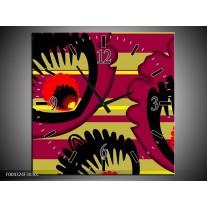 Wandklok op Canvas Abstract | Kleur: Geel, Zwart, Paars | F004324C