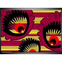 Glas schilderij Abstract | Geel, Zwart, Paars