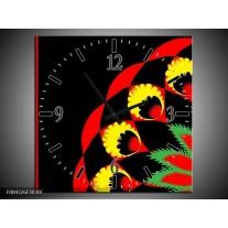 Wandklok op Canvas Abstract | Kleur: Zwart, Rood, Geel | F004326C