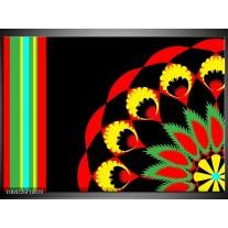 Glas schilderij Abstract | Zwart, Rood, Geel