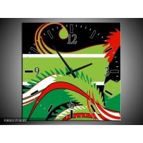 Wandklok op Canvas Abstract | Kleur: Groen, Rood, Wit | F004327C