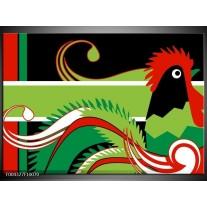 Glas schilderij Abstract   Groen, Rood, Wit