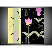 Wandklok op Canvas Abstract | Kleur: Paars, Geel, Zwart | F004328C