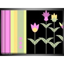 Glas schilderij Abstract | Paars, Geel, Zwart