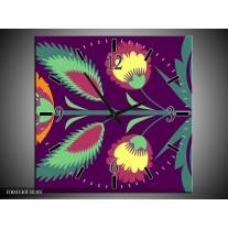 Wandklok op Canvas Abstract | Kleur: Paars, Geel, Oranje | F004330C